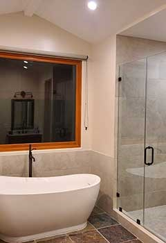 Bamboo Roller Shades For Bathroom, Lakewood